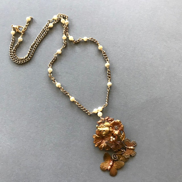 Butterfly and Flower Necklace