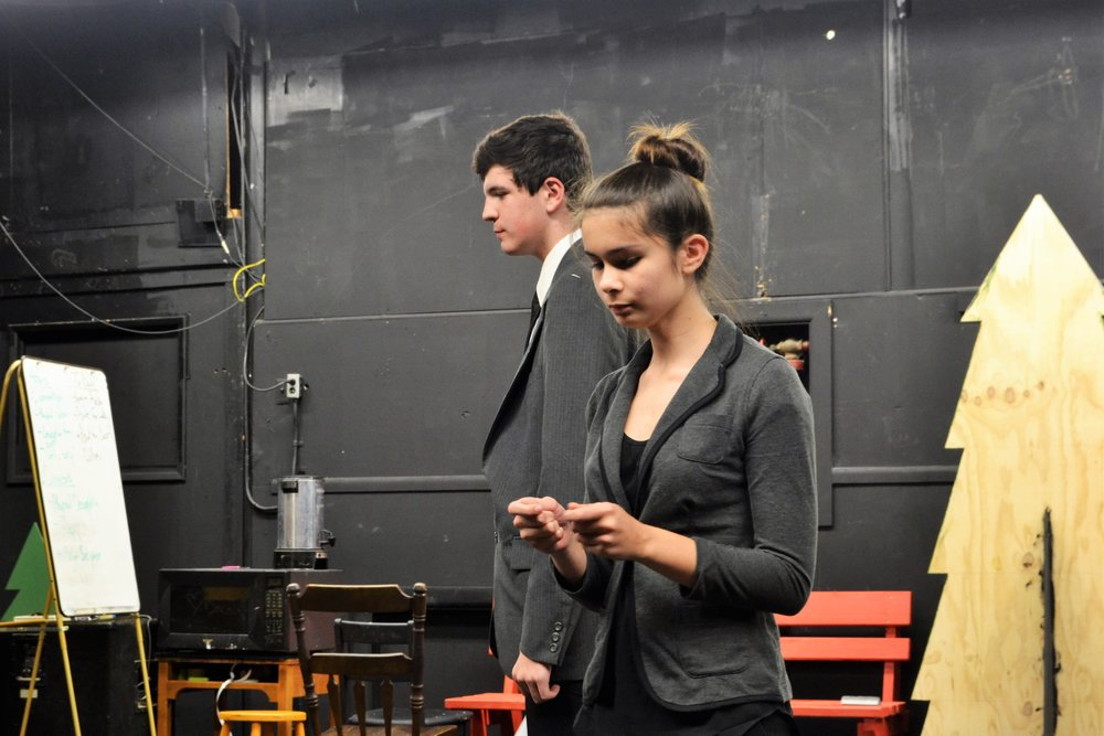 Freshman Bella Sperling and Sophomore Timothy Kent perform their Dual Interpretation called Post-Its.