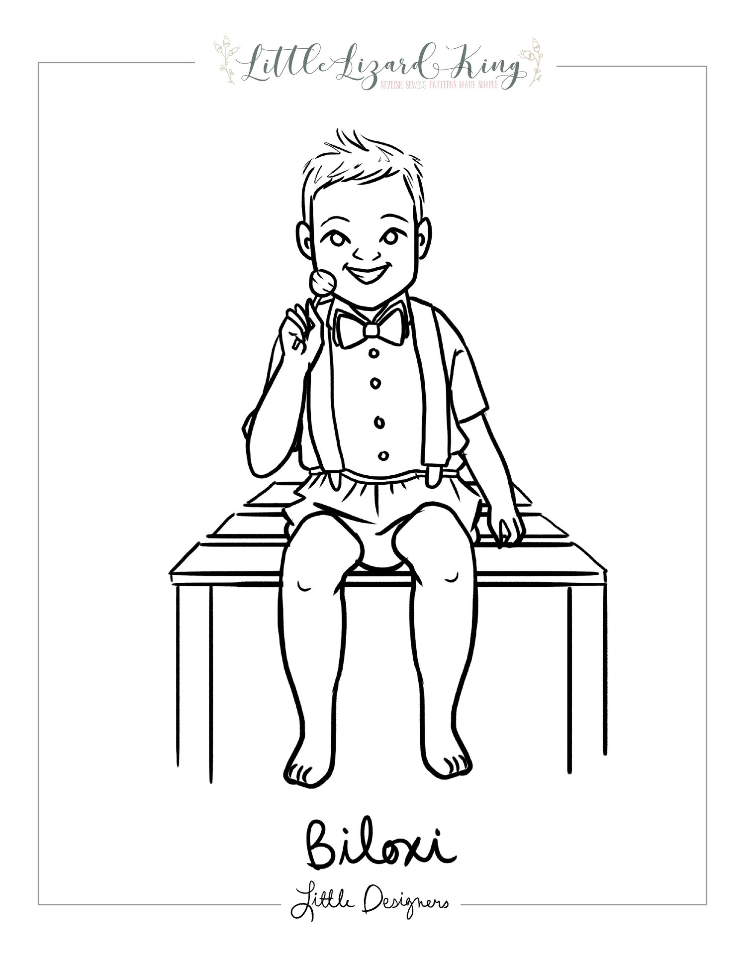 Biloxi Bow Tie Coloring Page — Little Lizard King