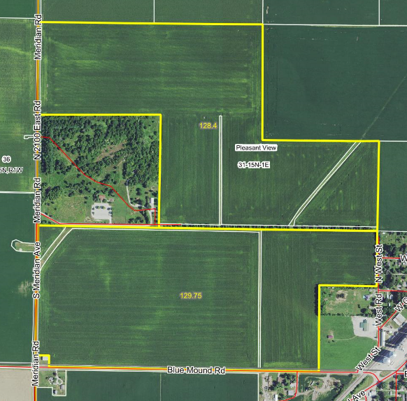 Aerial view of the Griswold Trust farmland for sale.