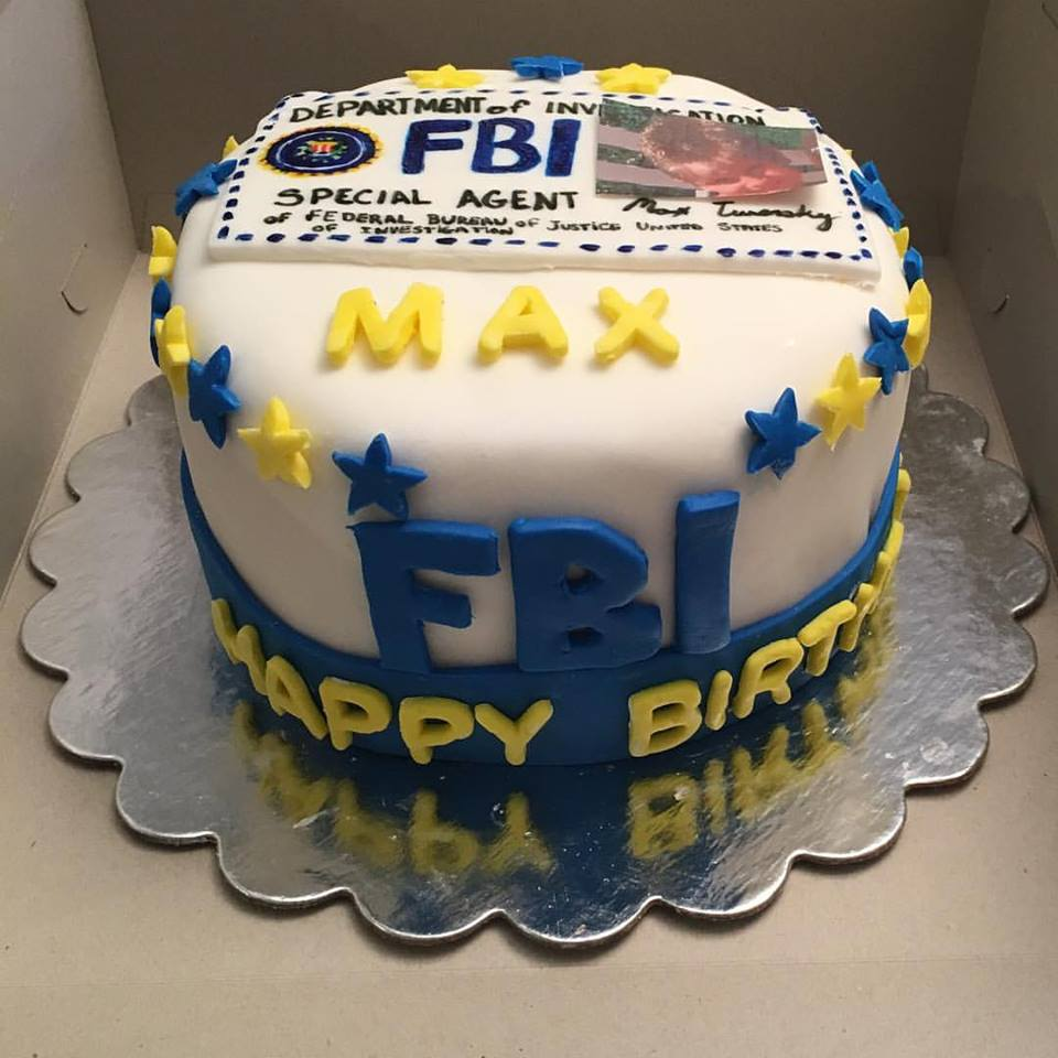 FBI cake with Special Agent ID on top made from fondant icing