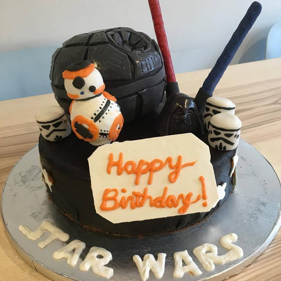 Star wars fondant cake with light sabers and BB-8