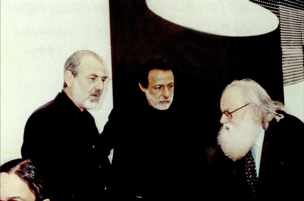 """Documenta X"". Pistoletto, Rolando Peña and Pierre Restany. Kassel, Germany. 1997. Photo by Kitty Holley"