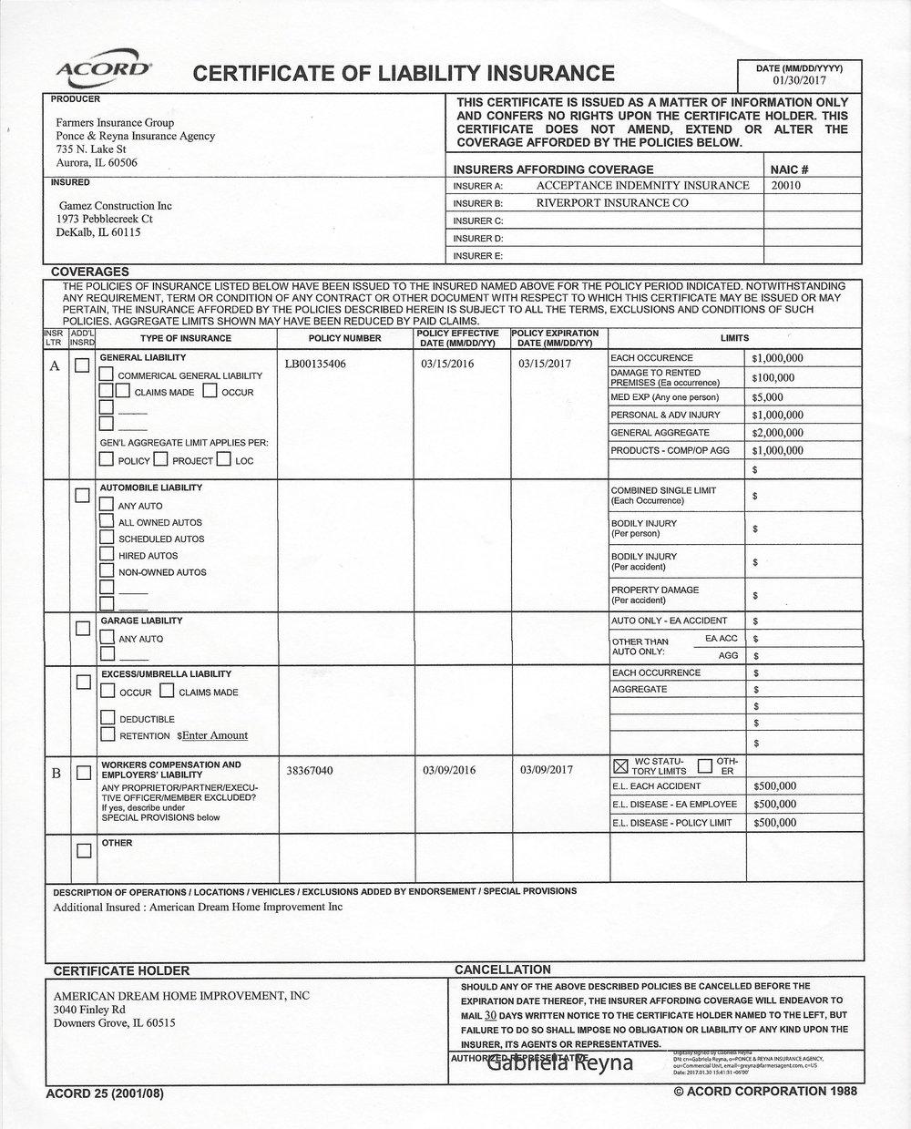 Insurance certifications gc gamez construction insurance certificateg 1betcityfo Images