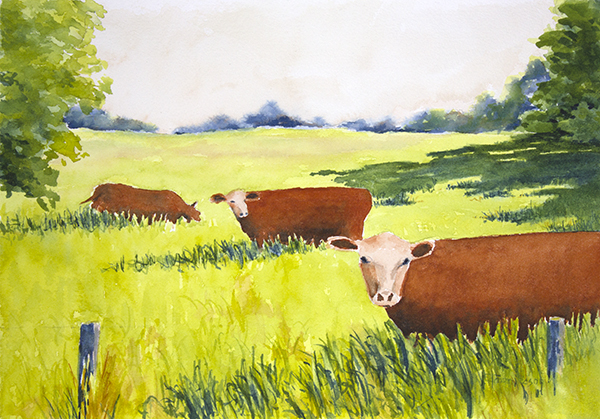 SOLD Three Red Cows