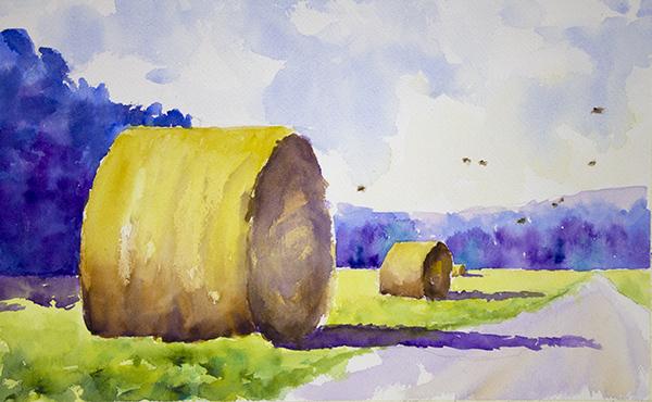 Haybales, Blue Trees, Quail