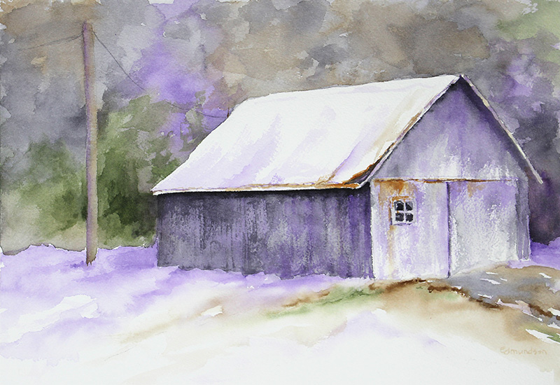 Winter Barn, Purple Shadows