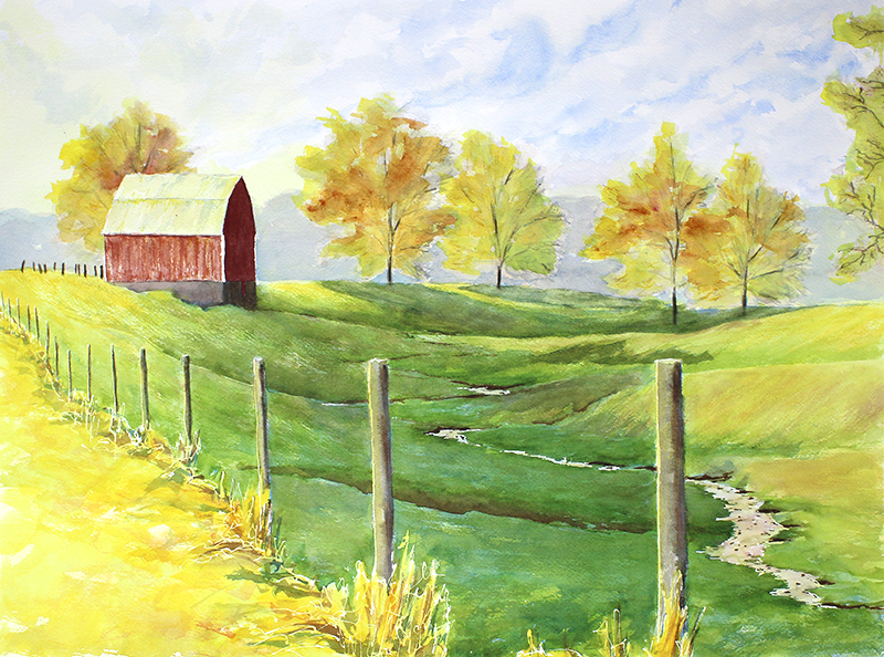 Red Barn, Lyons,  Fall Morning