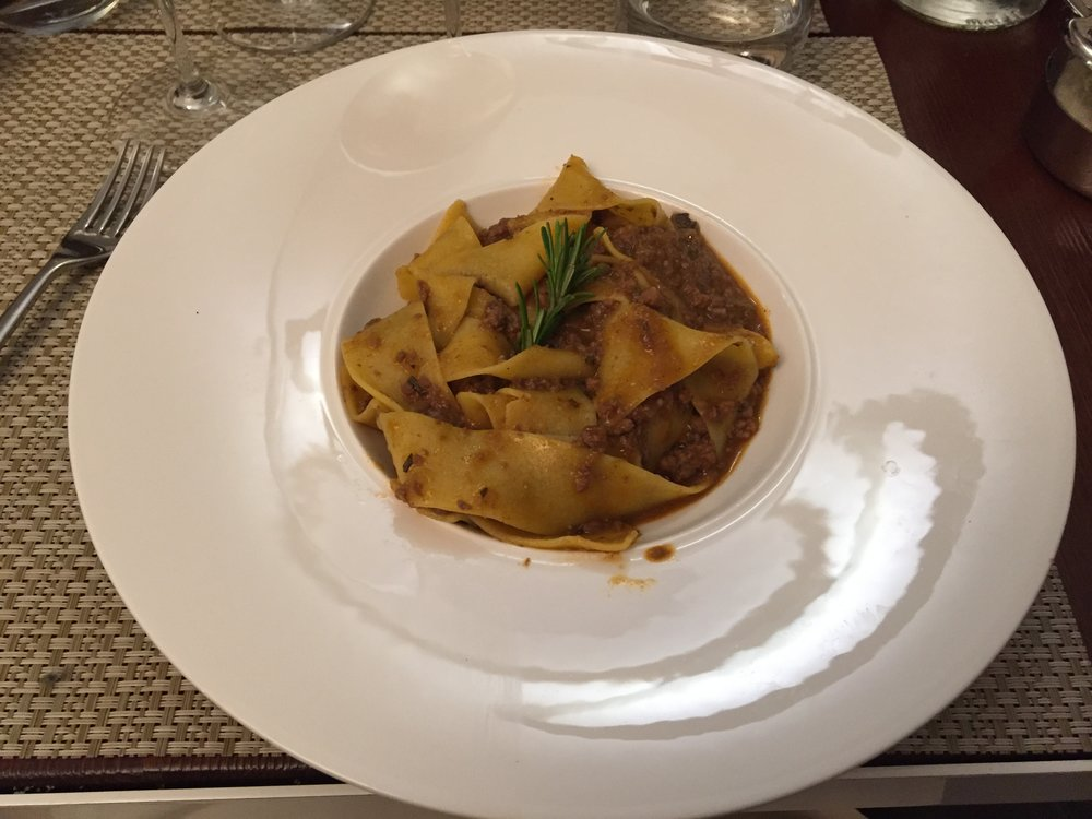 Pappardelle with cinghiale at La Mandragola.JPG