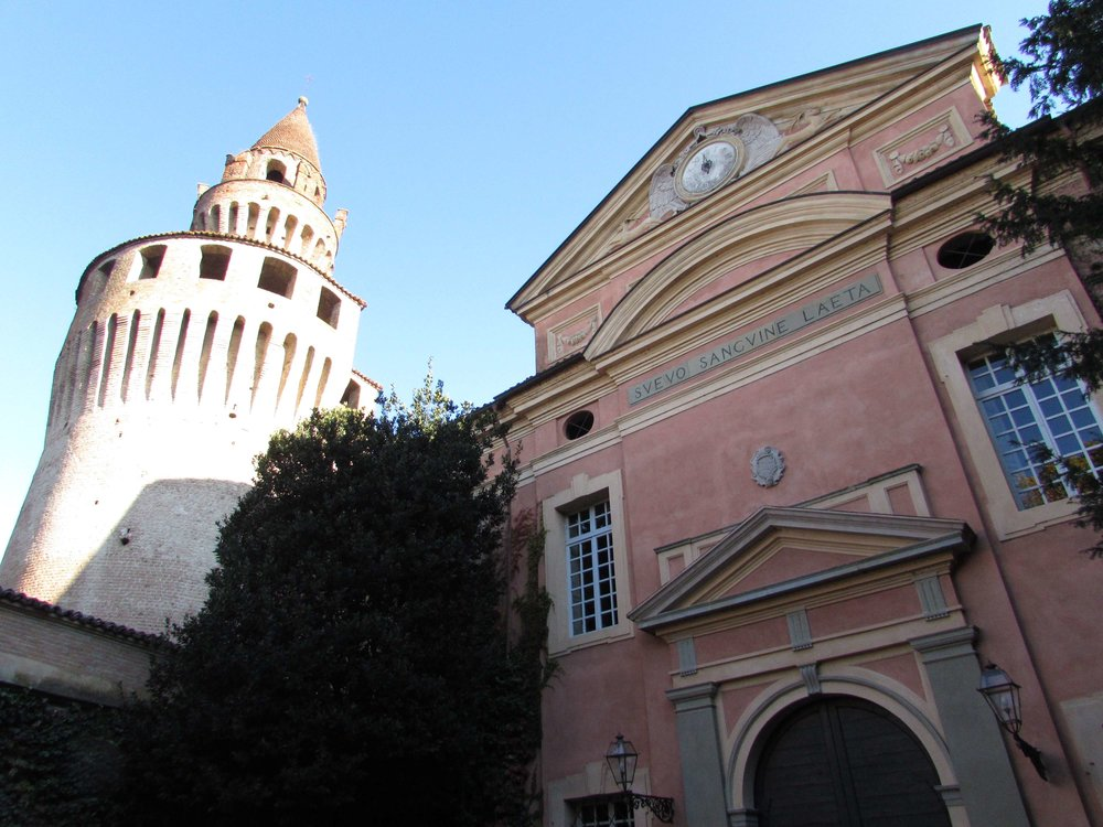 Rivalta's castle tower, looming over the castle church