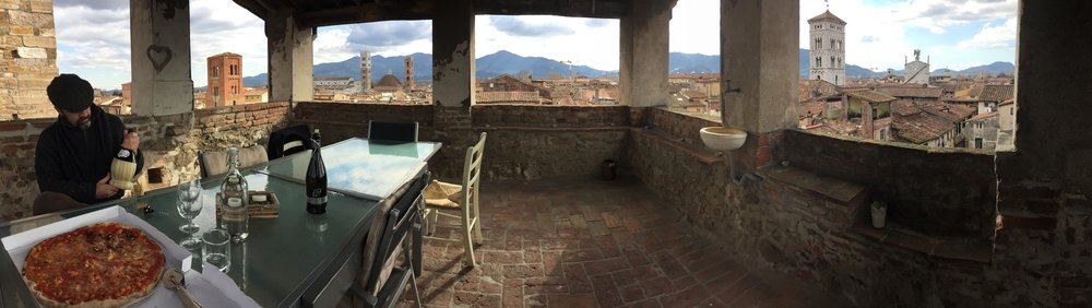 Dinner on the tower roof, in a pano shot.