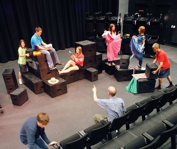 Crisis actors, worried about the future of their profession, rehearse in their secret studio beneath the Pentagon Monday.