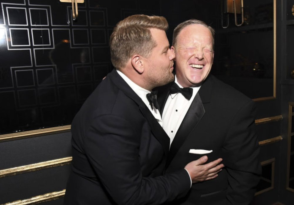 """He even kissed me, which was gross,"" hilarious American patriot Sean Spicer said of widely-respected comedian James Corden, after Spicer's appearance at last night's Emmy awards."