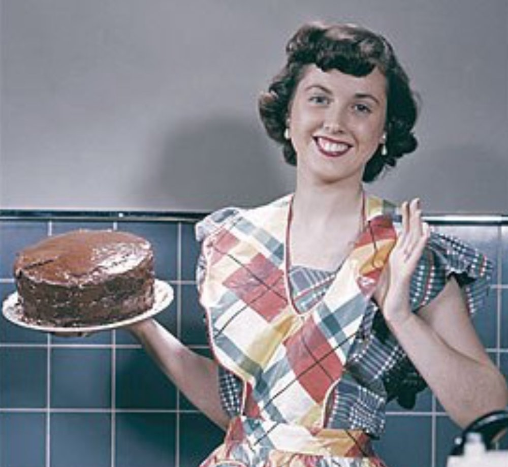 """All I want to think about is cakes,"" says relieved housewife Meryl Johnson from her kitchen located in 1957."