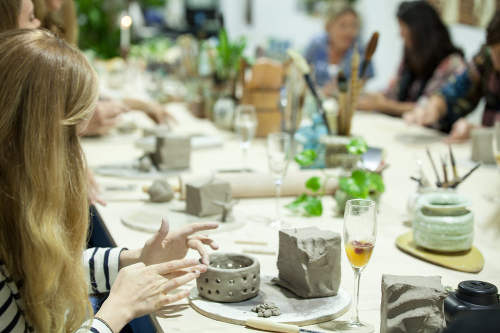 - All events must be booked in advance and are only available Friday and Saturday nights, from 5.00pm - 9.00pm. We have a minimum of 10 people per group and maximum of 20.Within the event, every group member will make a few pieces, which we will then bisque fire, glaze and glaze fire for you to pick up a few weeks later.Prices start at $99 a head, includes all clay, glaze and firing costs.