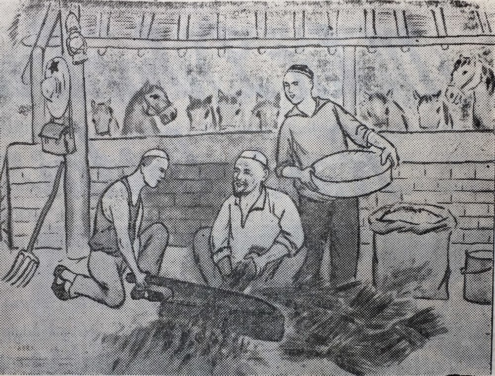 "A black and white reproduction of a Uyghur farmer propaganda poster from Mekit County, Kashgar Prefecture, in 1975. The caption reads: ""Intellectual youth learning horse shoeing."""