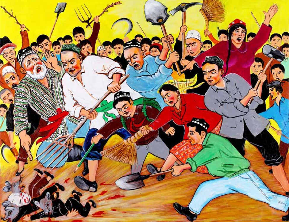 An award-winning Uyghur farmer painting that responds to the Chinese President Xi Jinping's 2014 call for the Uyghur masses to slaughter Uyghurs suspected of terrorism like vermin.