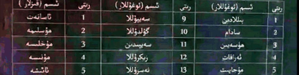 A detail from another list of banned names that has been circulated recently in Khotan Prefecture. The banned boys names are as follows: 1. Billadin (Bin-Laden), 2. Sadam, 3. Huseyin (Hussain), 4. Erafat, 5.  Mujayit, 9. Seyulla, 10. Guldulla, 11. Seyidin, 12. Zikrulla, 13. Nesrulla. Banned girls names are as follows: 1. Asanet, 2. Muslime, 3. Mukhlise, 4. Munise, 5. A'ishe.