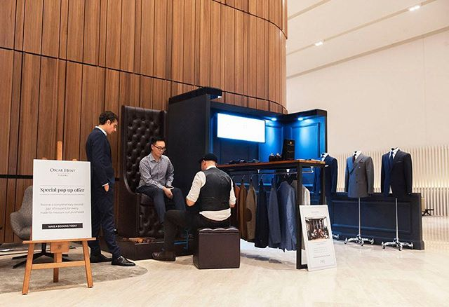 @oscarhunttailors pop-up event taking place earlier this year featuring @fortisgreenshoeshine 360 Collins Street