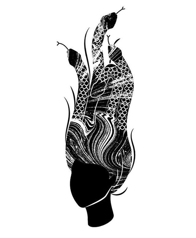 🐍 Monday Medusa 🐍 . . . . . #illustration #womenwhodraw #digitalart #medusa #blackandwhite #blackandwhiteillustration
