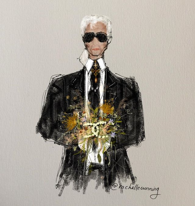 RIP Monsieur Lagerfeld🌹 @karllagerfeld . . . . . . . (*sidenote* please if you do share my illustrations which is completely fine! please do mention & tag me - artist like myself work hard on creating pieces we deserve some credit 🙏🏻 thanks 🥰)