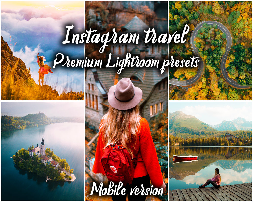 18 Mobile Adobe Lightroom presets - Instagram travel premium pack - YOU DON'T NEED ADOBE SUBSCRIPTION TO USE THE PRESETS. They are in the format of DNG file and they are suitable specifically for use in Lightroom CC Mobile app without a subscription. Works on iOS and Android.