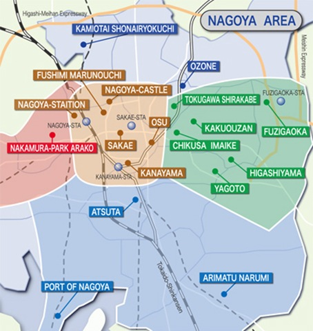 Nagoya areas map