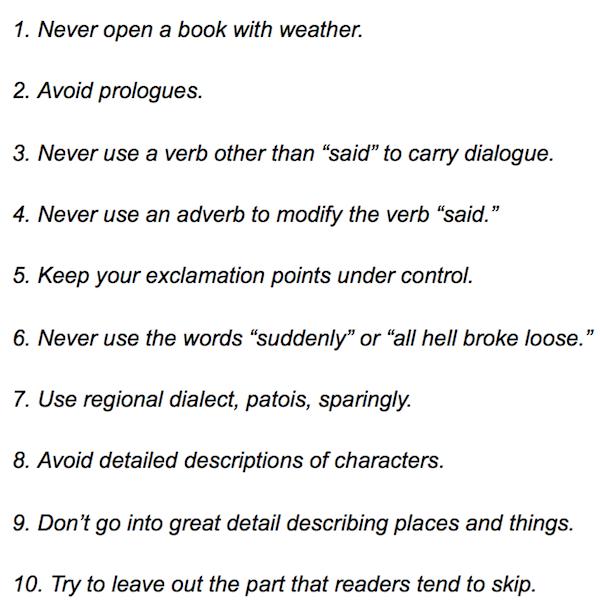 Elmore Leonard's 10 Rules of Writing
