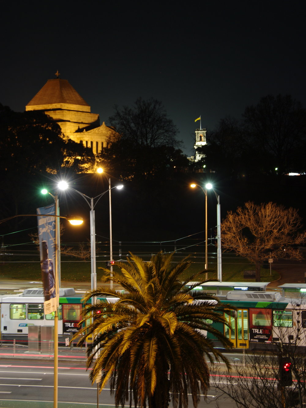 Shrine of Remembrance and Government House at Night