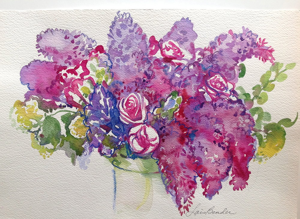 """Lilacs, Tulips and Roses Bouquet I"""