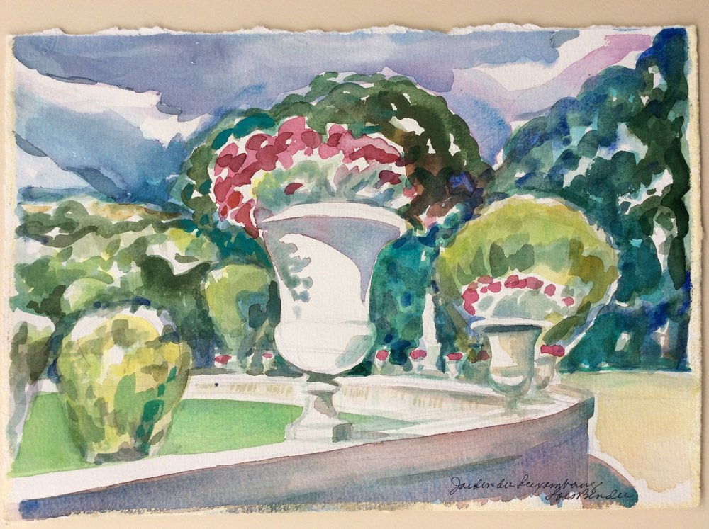 """Geraniums in Urns at Jardin du Luxembourg"""