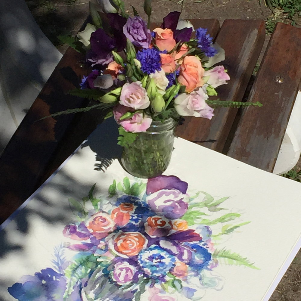 Painting a Summer Bouquet on a beautiful Summer Day in Sag Harbor