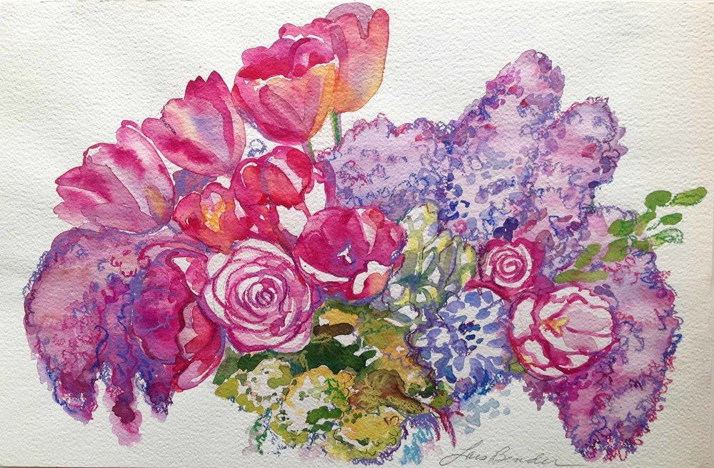 """Lilacs, Tulips and Roses Bouquet II"""