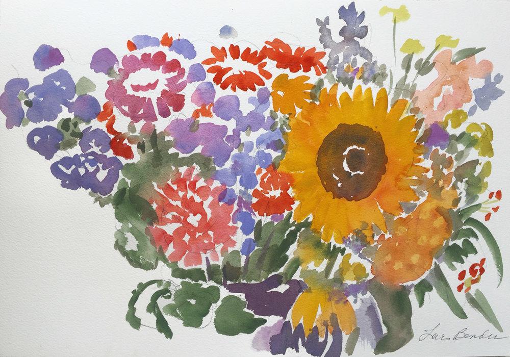 """Summer Medley of Sunflowers, Mums...."""