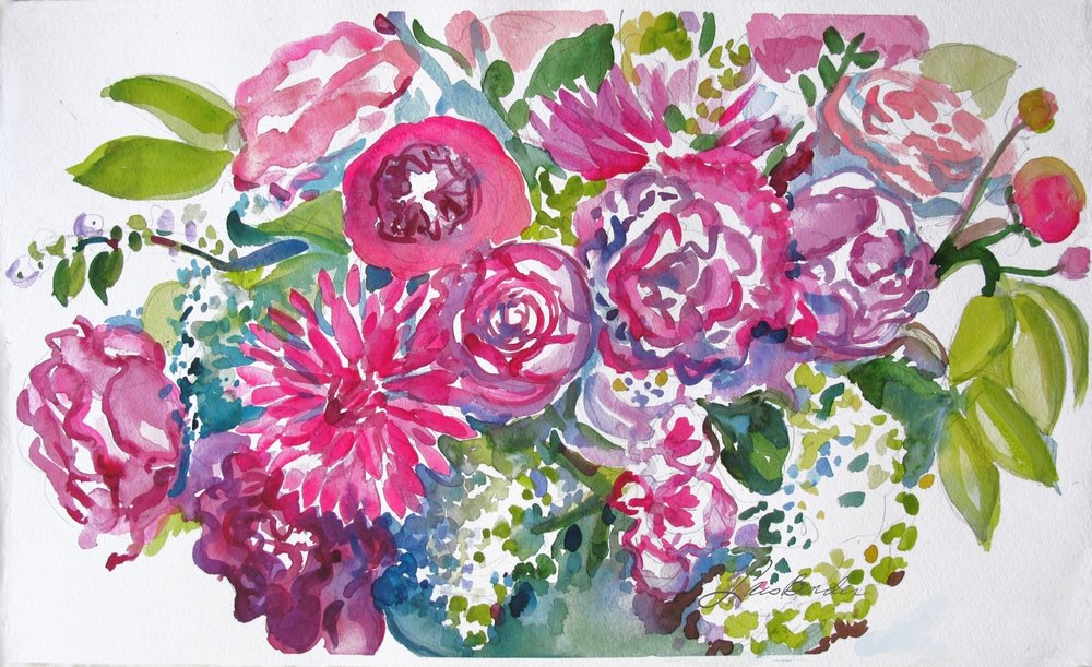 """Summer Bouquet of Roses, Dahlias...."""
