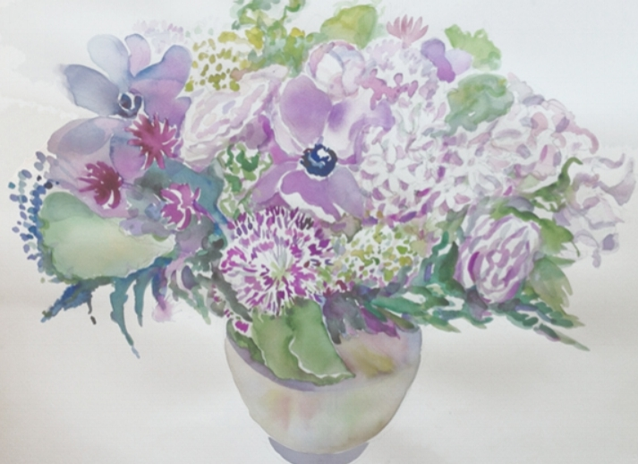 """Spring Anemones, Alliums, Roses Bouquet"""