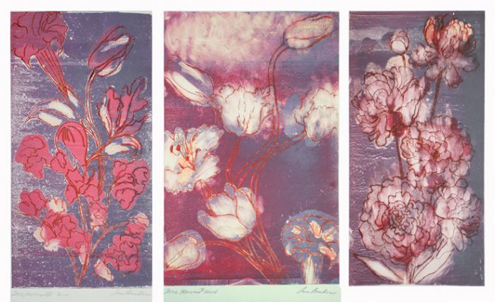 """Fire Flowers Triptych"""