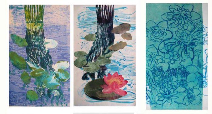 """Waterlilies Triptych I""  Variation l"