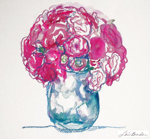 %22Ceramic Vase of Roses%22 12%22 x 14%22 Watercolor and Caran d'Arche crayon.jpg