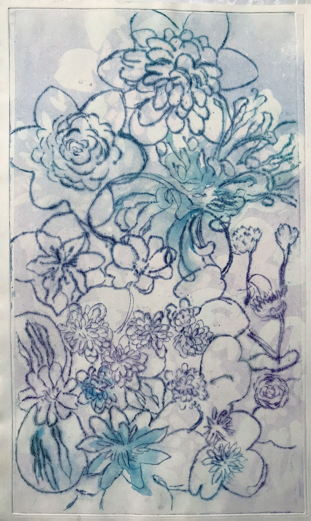 WaterFlora Drypoint Print