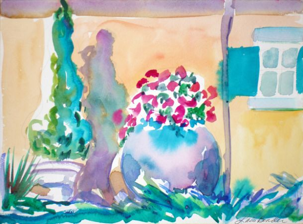 Wolffer's Vinyards Gardens with Urn of Geraniums