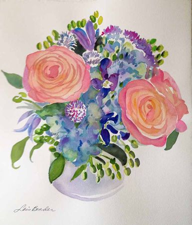 """Coral Roses, Blue Hydrangea and Alliums II"" 14"" x 16"" Watercolor"