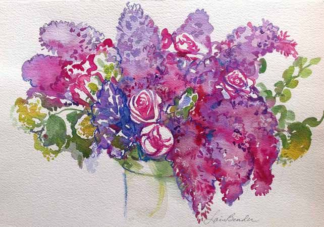 """%22Lilacs, Tulips and Roses I"""" …….22%22 x 15%22 Watercolor.jpg"""
