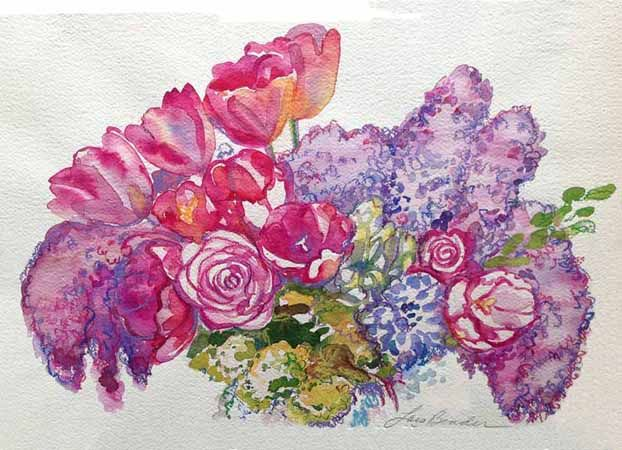 %22Lilacs, Tulips and Roses II%22 22%22 x 15%22 Watercolor.jpg