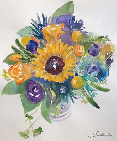 %22Sunflower, Roses, Thistles and Anemones II%22 17%22 x 22%22 Watercolor.jpg