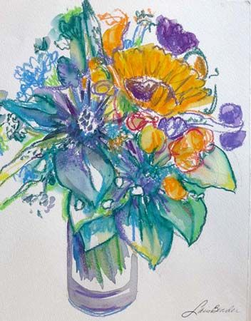 %22Sunflower, Roses, Thistles and Anemones III%22 11%22 x 15%22 Watercolor.jpg