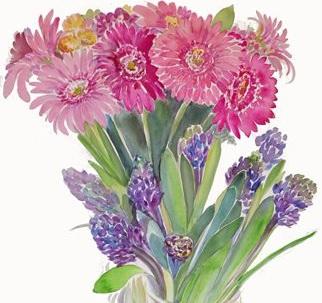 %22Spring Hyacinths and Gerbers II%22 2013 30%22 H x 22%22 W Watercolor.jpg