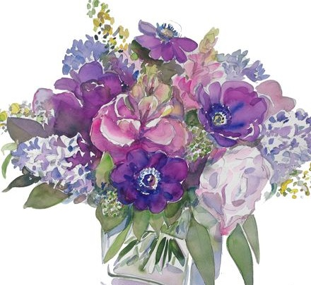 %22Bouquet with Red Cabbage, Anemones, Roses, Hyacinths, Eucalyptus I%22 30%22 w x 22%22 h Watercolor.jpg
