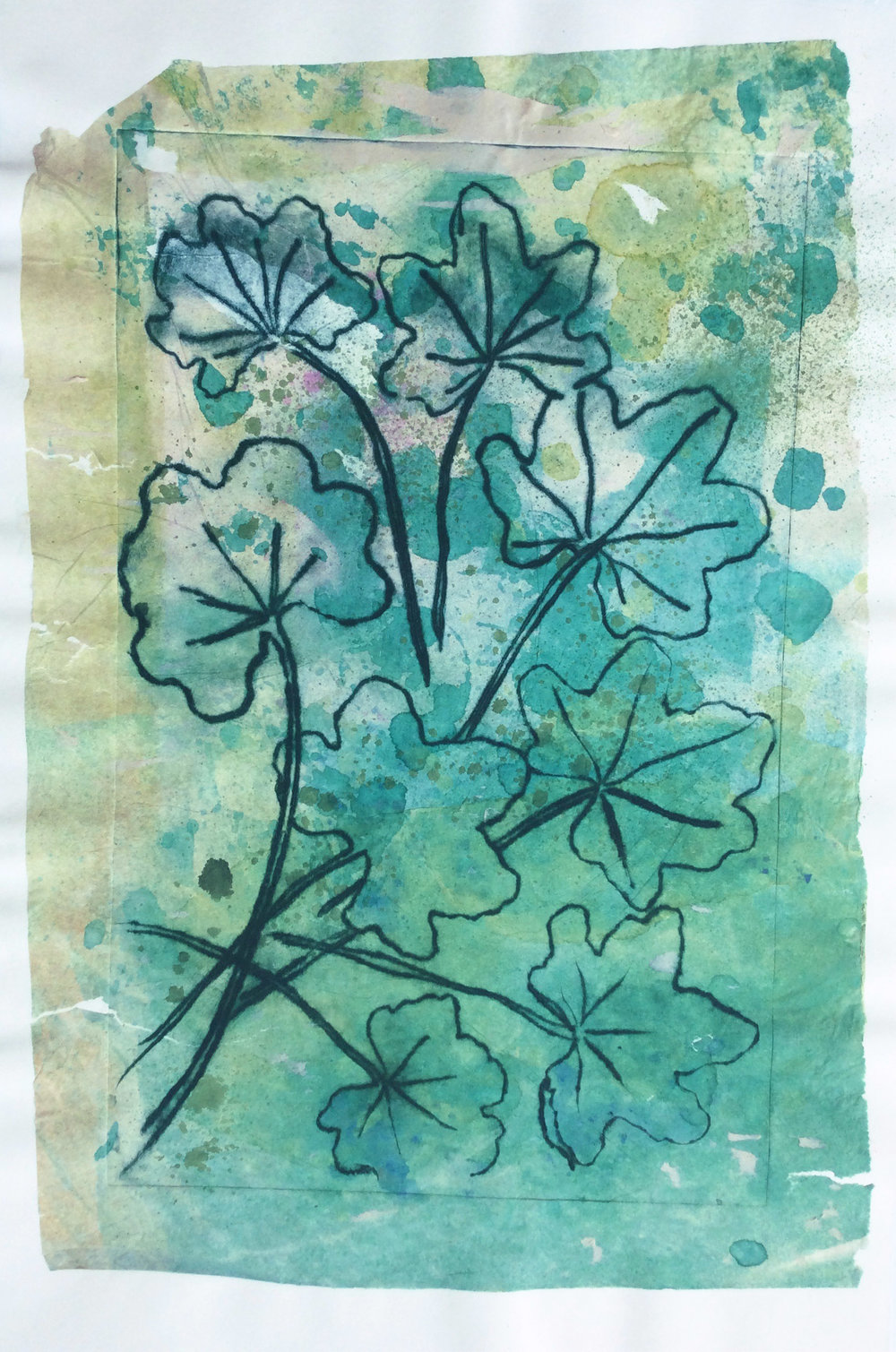 """Green Leaves"" Drypoint + Chine Collé Print"