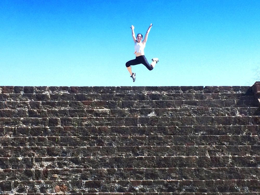 Jumping above a minor pyramid.